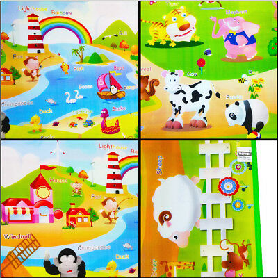Double-side Nontoxic Baby Kids Play Mat Floor Rug Picnic Cushion Crawling Mat