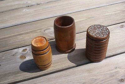 3 Vintage Carved Wooden Barrels Carved Reclaimed Wood Ex Military Salvaged + Box