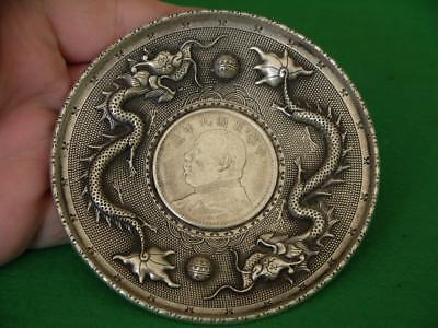 Superb Antique Dragon First Republic Chinese White Metal Dish With Silver Coin