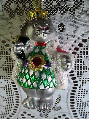 Old World Christmas Silver King Mouse Glass Ornament with Crown & Sword