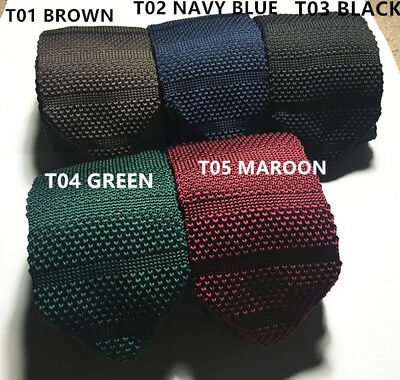 Mens Skinny Woven Knitted Ties Necties Slim Classic Navy Blue Maroon Green