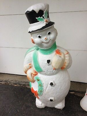 Poloron Frosty the snowman LARGE LIGHT UP OUTDOOR BLOW MOLD tlc