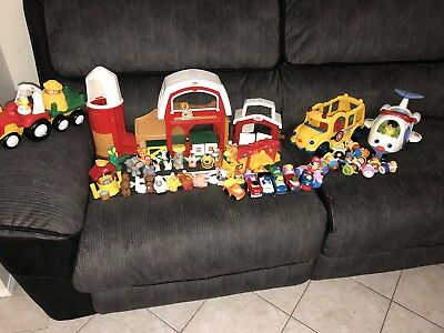 Fisher Price Little People Bulk lot Barn Stable, Tractor, Bus, Aeroplane, Cars
