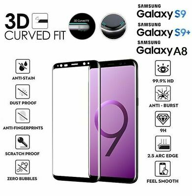 For Samsung Galaxy S8 S9 A7 A8 A9 3D Full Curved Tempered Glass Screen Protector