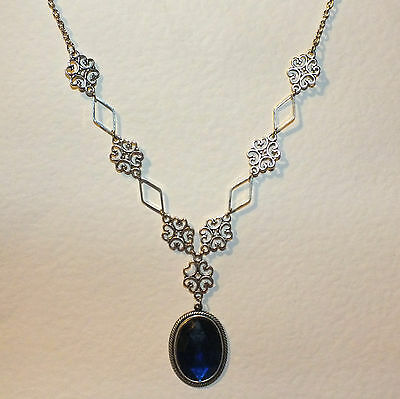 Lacy Filigree Victorian Style Blue Crystal Dark Silver Plated Pendant Necklace