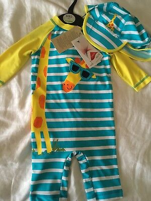 Marks & Spencer Boys Swim Suit Set With Hat Sun Safe Fabric 12-18 Months  Bnwt