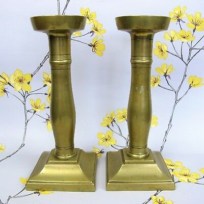 """Pair of good quality vintage BRASS CANDLE HOLDER / CANDLESTICKS. 21 cm 8.25"""""""