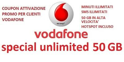 Coupon Vodafone Special Unlimited 50Gb Min+Sms Illimitati 8€  X Gia Clienti Voda