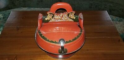 Antique Red Laquered Chinese Wedding Basket - Hand Carved Handle Brass Latch