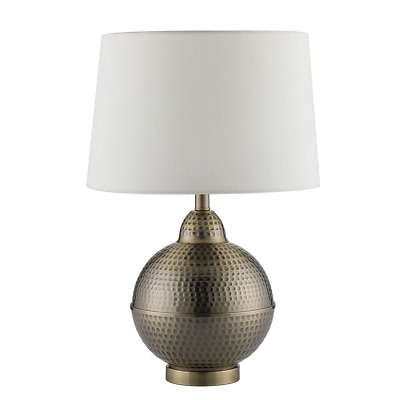 Hammered Pot Table Lamps Large Modern White Shade Handcrafted Brass Base NEW USA