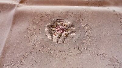 Vintage German Damask Tablecloth - Hand Embroidered - 67,0 x 55,1 Inch - White