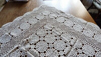 Vintage German Tablecloth - Hand Crochet - Cotton Lace - 35,5 x 35,5 Inch Beige