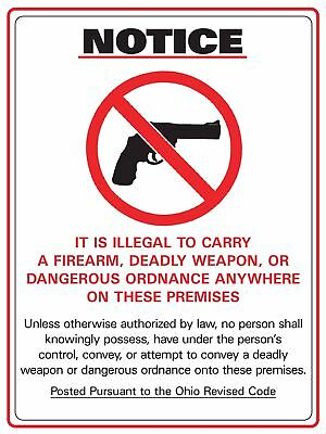 Zing Ohio 2923.1212 No Firearm Allowed Concealed Carry Sign - 2805S