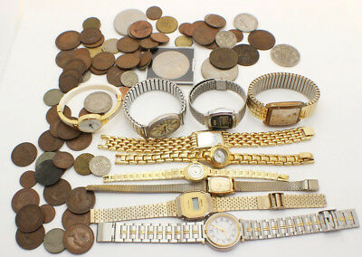 Vintage Job Lot Mixed of Coins and Faulty Watches inc. Copper UK and Foreign