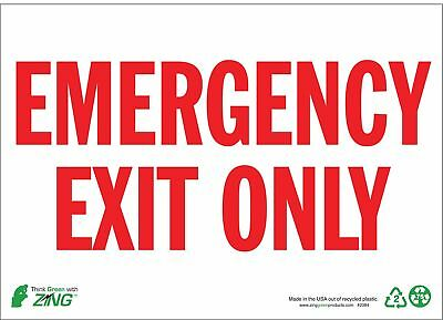 Zing Exit Sign, 7 x 10In, R/WHT, Recycled AL, ENG - 1084A