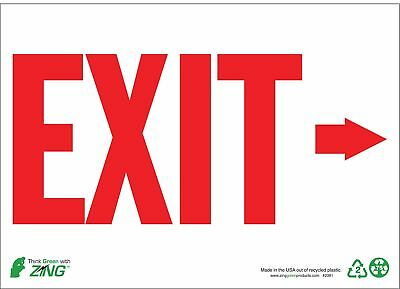 Zing Exit Sign, 7 x 10In, R/WHT, Recycled AL, ENG - 1081A