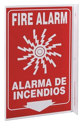 Zing Fire Alarm Sign, 11 x 8In, WHT/R, Bilingual - 2631