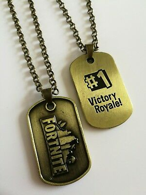 FORTNITE Fortnight Bronze  DOG TAG Pendant Necklace Chain Double Sided M97