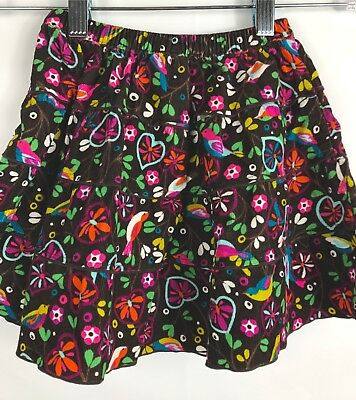 OLD NAVY Girl's Brown Pink Floral Bird Corduroy Skirt Size 18-24 Months EUC