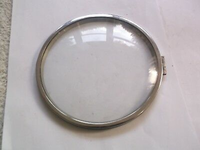 GLASS /CHROME RIM  FROM AN OLD BENTIMA  MANTLE CLOCK  OUTER 6 1/4 inch diam