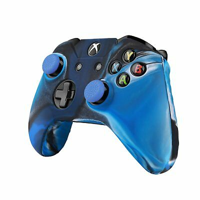 TNP XBox One S/ XBox Controller Case - Soft Silicone Gel Rubber(Camouflage Blue)