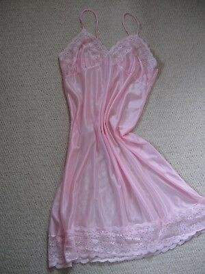 Pretty Pink Nylon Full Slip/Petticoat with lace trim