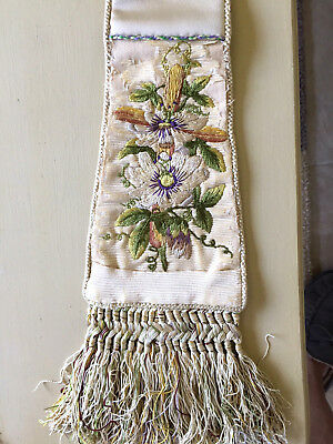 Stole, vestment, antique hand embroidery on vintage background, festal White