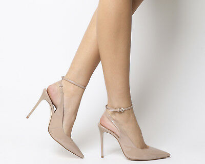 Womens Office Hustler Ankle Strap Court Heels Nude Patent Heels