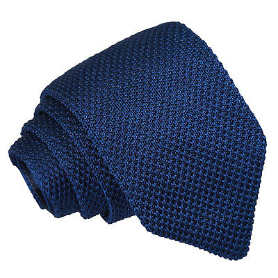DQT Knit Knitted Plain Solid Navy Blue Casual Mens Slim Tie