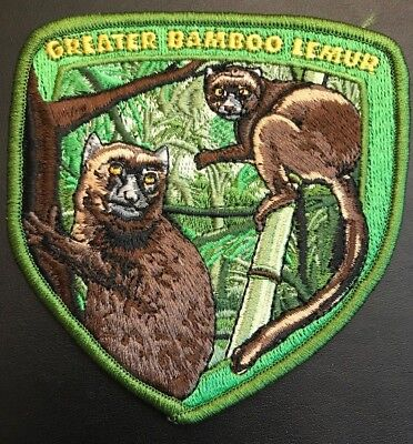 WORLD WILDLIFE - GREATER BAMBOO LEMUR COLLECTIBLE PATCH - 4 inches in diameter