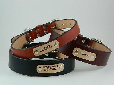 """1"""", 1 1/4"""", 1 1/2"""" Full Grain Leather Dog Collar with Free Laser Engraved Name"""