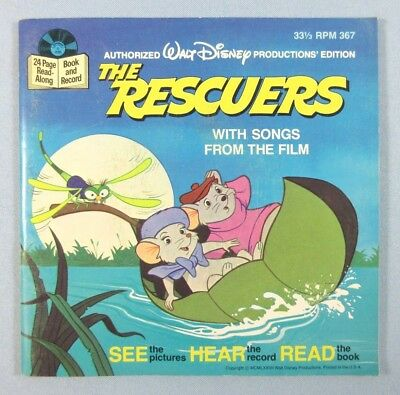 Walt Disney The Rescuers See Hear Read Storybook and Record Disneyland Vtg 1977