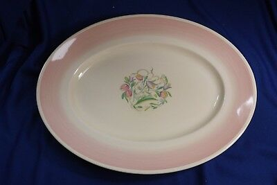 "SUSIE COOPER - 16"" Dresden Spray Pink Band - Oval Meat SERVING PLATTER England"