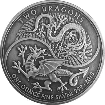 TWO DRAGONS - 2018 1 oz Pure Silver Coin - ANTIQUE FINISH - United Kingdom