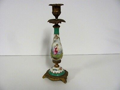 Antique French SEVRES CANDLESTICK  Teal Color Hand Painted Maiden Birds Signed
