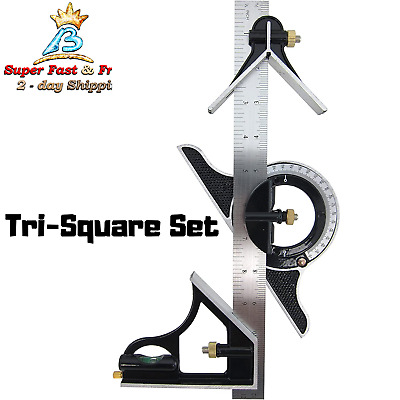 Combination Tri-Square Set stainless Steel Right1Angle Ruler Combination  300mm