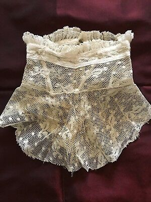 "HANDMADE EDWARDIAN VALENCIENNES LACE COLLAR - Neck 12.5"" X 6 1/2""with Bone frame"