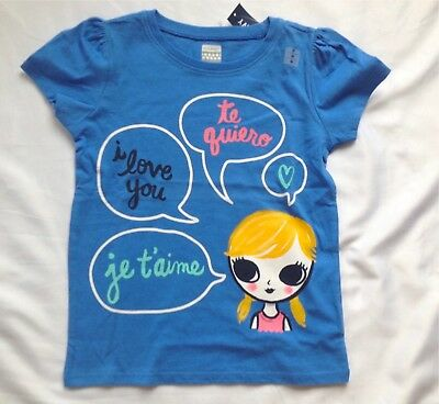 "OLD NAVY Girl's Shirt ""I love you"" ""je t'aime"" ""te quiero"" Size 5T NWT"