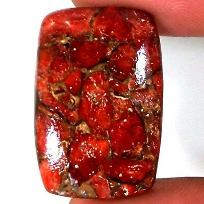 18.70 CTs NATURAL COPPER LAYER CORAL TURQUOISE BRONZE CUSHION CABOCHON GEMSTONE