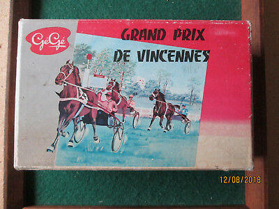 VINTAGE 1950's FRENCH GEGE GRAND PRIX DE VINCENNES SULKY HORSE WAGON BOXED