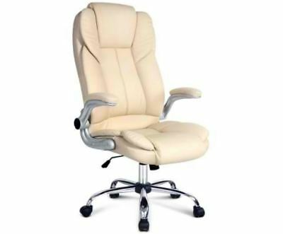 New Pu Leather Executive Office Chair Beige Retractable Padded Armrests Support