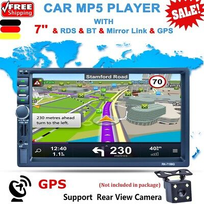 "7"" Bluetooth Autoradio Car MP3 MP5 Player 2 Din GPS Navi Touchscreen RDS USB 2.0"
