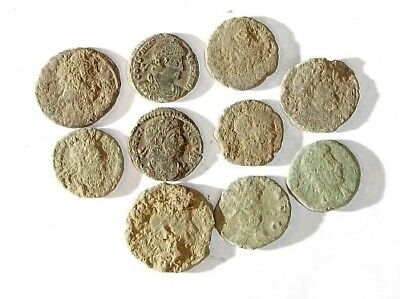 10 ANCIENT ROMAN COINS AE3 - Uncleaned and As Found! - Unique Lot 21145