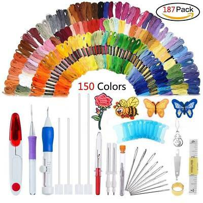 187pcs DIY Cross Stitch Embroidery Starter Kit Thread Hoop Floss Hand Embroidery