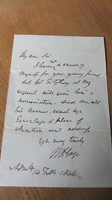 Sir William Gage Letter 1846 Royal Navy Nelson HMS Victory Trafalgar connection