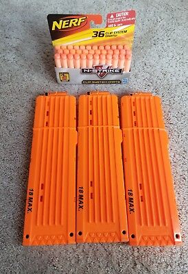 Lot of 3 Nerf Orange 18 Round Max Dart Long Ammo Clip Replacement and New Darts