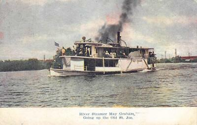 River Steamer May Graham, St Joe River, Michigan Steamboat 1910 Vintage Postcard