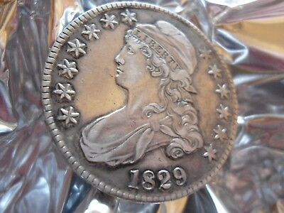 1829 Capped Bust Half Dollar as Pictured. Compares with graded AU halves.