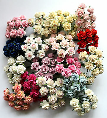 Mulberry Paper Rose Flowers x10 20mm With Wire Stems For Card Making Craft