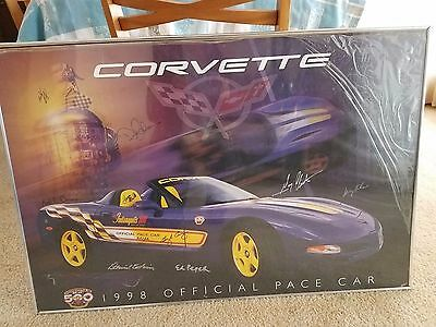1998 Chevy Corvette Indy 500 Pace Car Poster with 12 Signatures